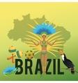 Garota cartoon of brazil and icon set vector image