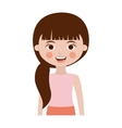 half body cute girl with side ponytail vector image