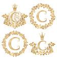 Golden letter C vintage monograms set Heraldic vector image