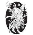 Koi fish Tattoo Japanese style lined pattern draw vector image