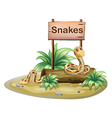 A wooden signboard with snakes vector image vector image
