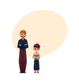 man and boy father son standing with frowned vector image