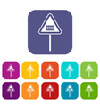 Warning road sign icons set vector image