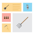 flat icon dacha set of cutter hay fork flowerpot vector image