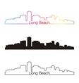 Long Beach skyline linear style with rainbow vector image