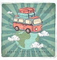 Retro Travel car  Earth vector image vector image