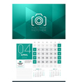 Calendar for 2016 Year April Design Clean Template vector image