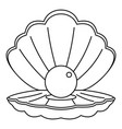 sea shell with pearl icon outline style vector image