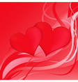 Two red hearts on a red abstract background vector image