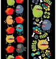 Two vertical seamless patterns with monsters vector image