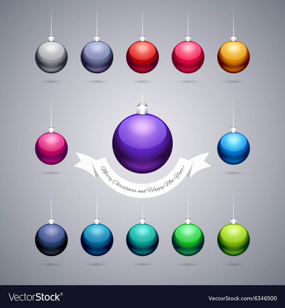 Colorful shiny christmas balls vector