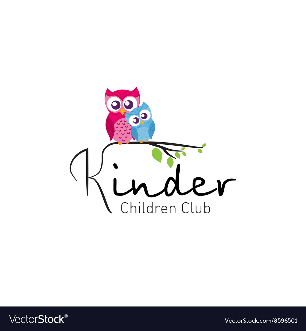 Owls in branch  logo for children club vector