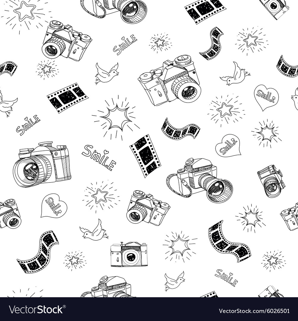 Photography sign and symbol doodles hand drawn set vector