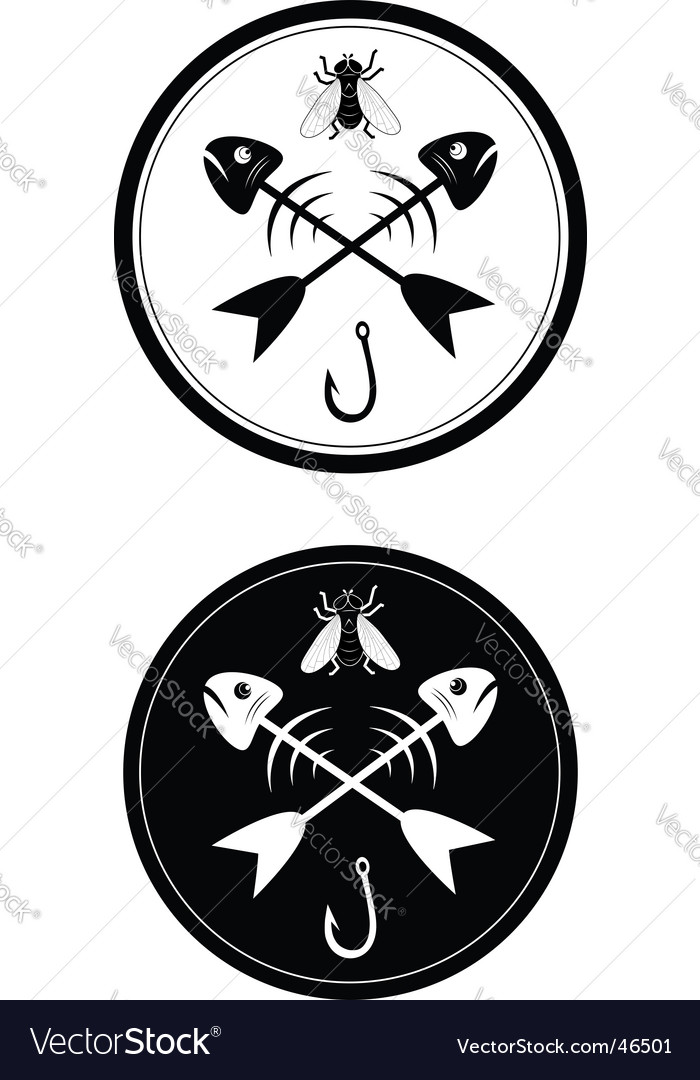 Sign of fishing vector