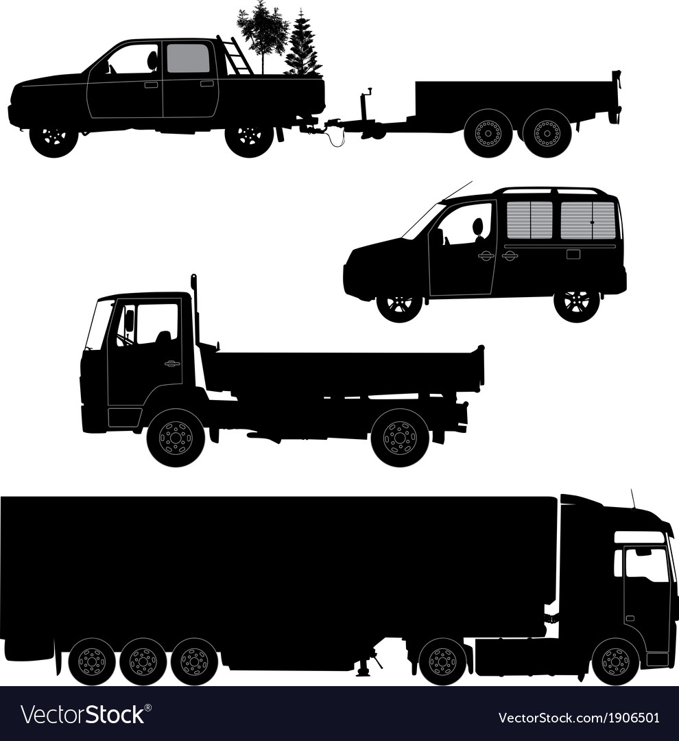 Transportation icons collection  car silhouette vector