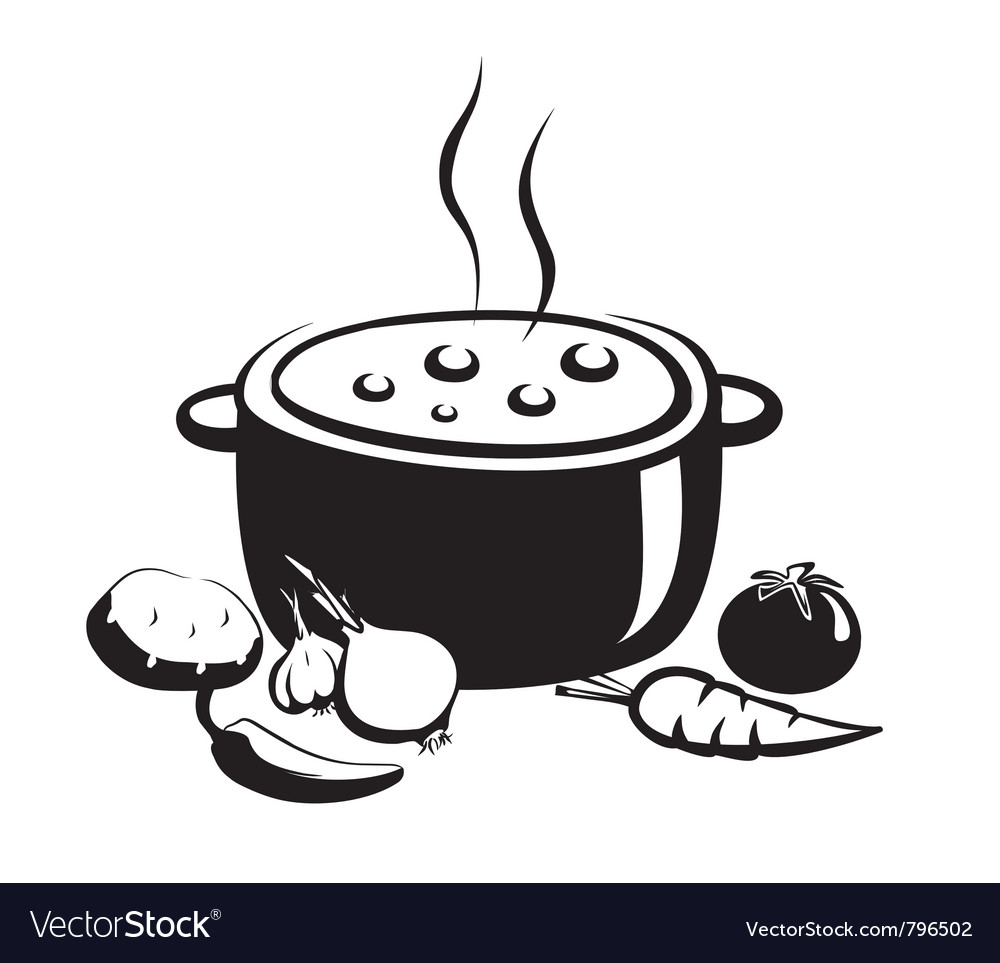 Hot soup food ingredients vector
