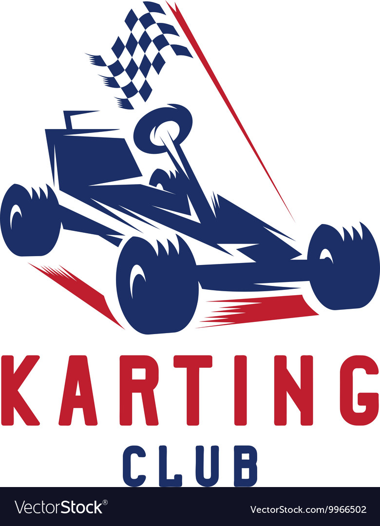 Kart with finish flag design template vector