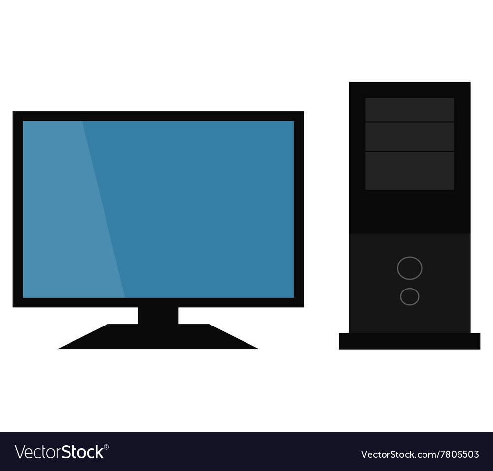 Computer with monitor vector