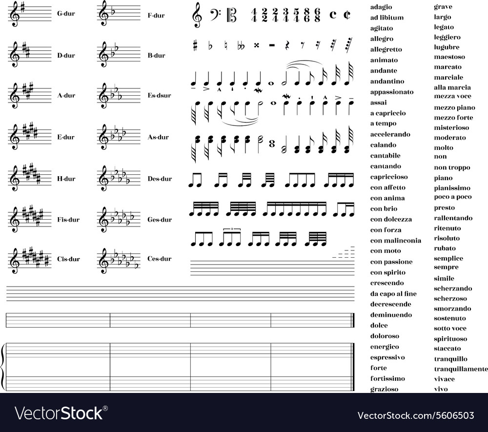 Large set of all music signs keys tonality and vector