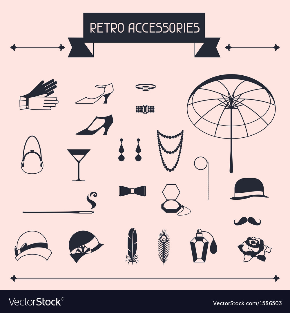 Retro personal accessories icons and objects of vector