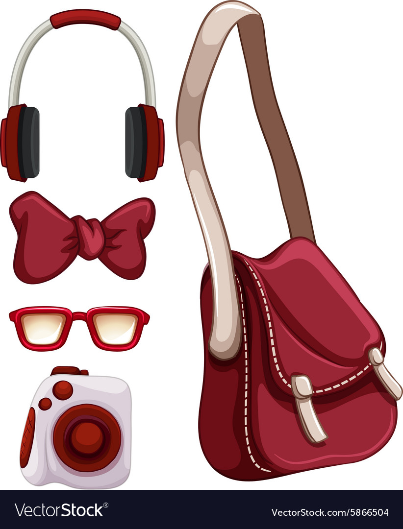 Handbag and other red objects vector