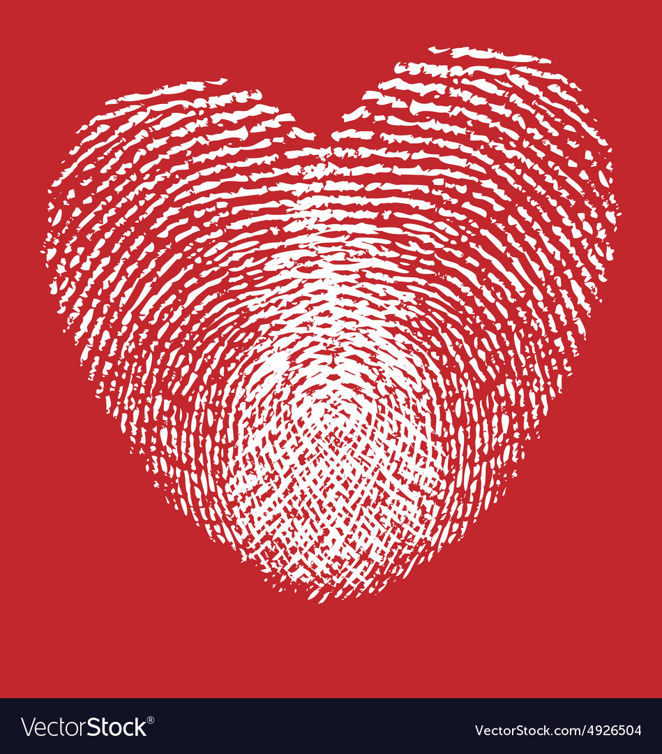 Heart finger prints vector