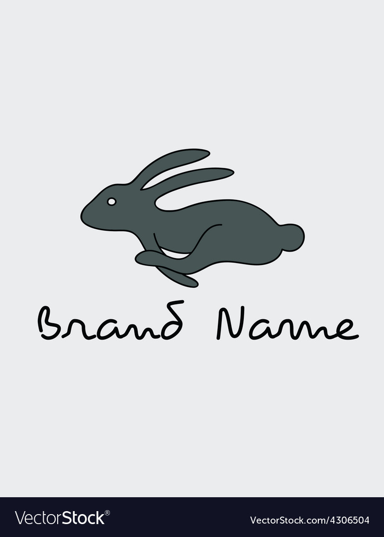 Rabbit running logo vector