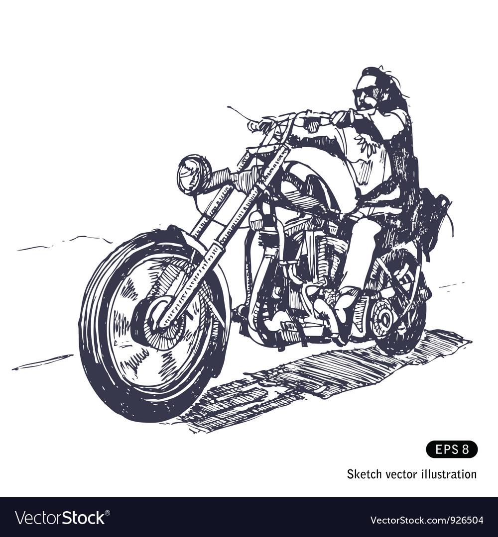 Rider on a chopper vector