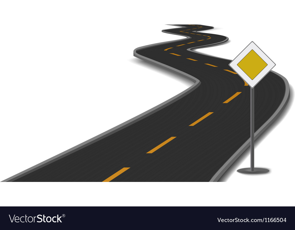 Road with mainroad sign vector
