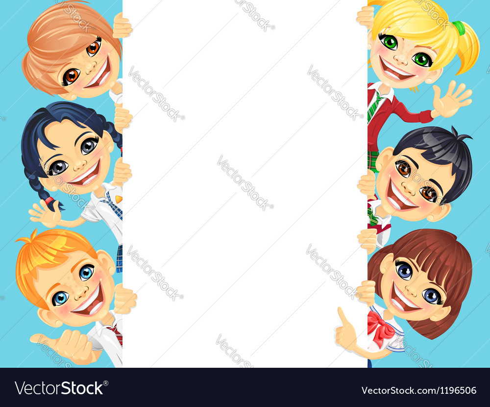Happy smile kids and vertical banner vector