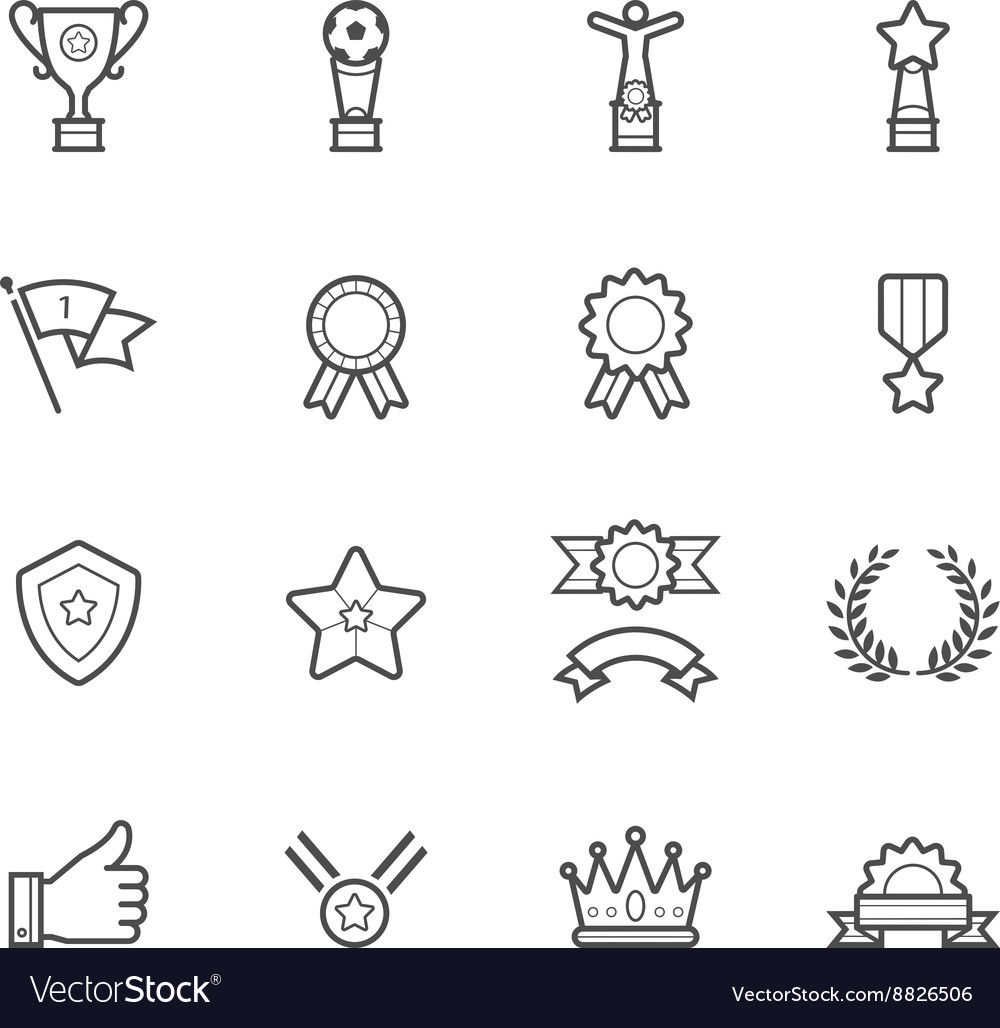 Trophy prize and awards icons vector