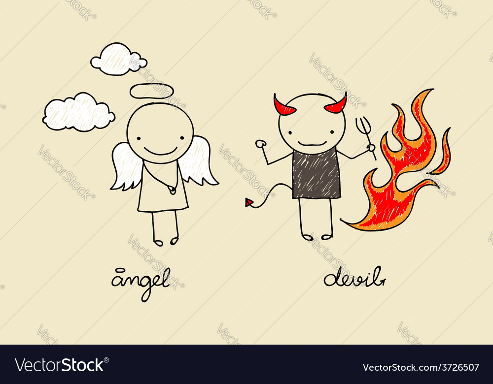 Cute angel and devil doodle vector