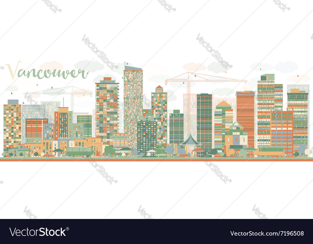 Abstract vancouver skyline with color landmarks vector