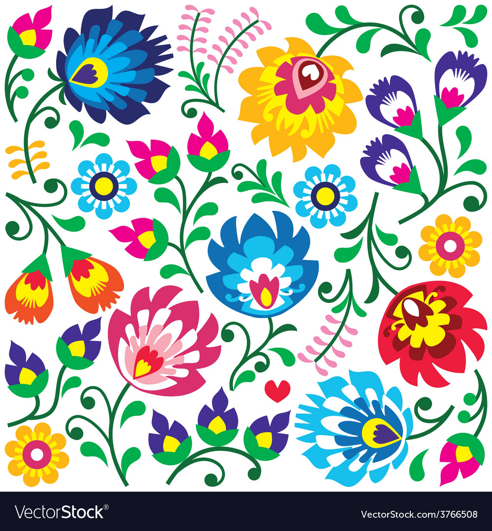 Floral polish folk art pattern in square vector