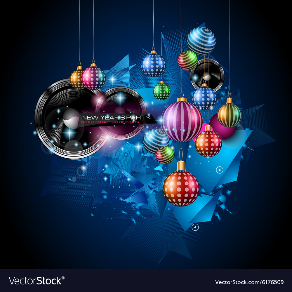 Christmas party flyer for music night events club vector