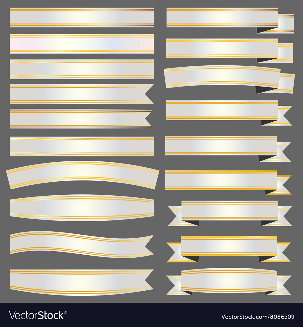 Silver ribbons and banners with gold vector