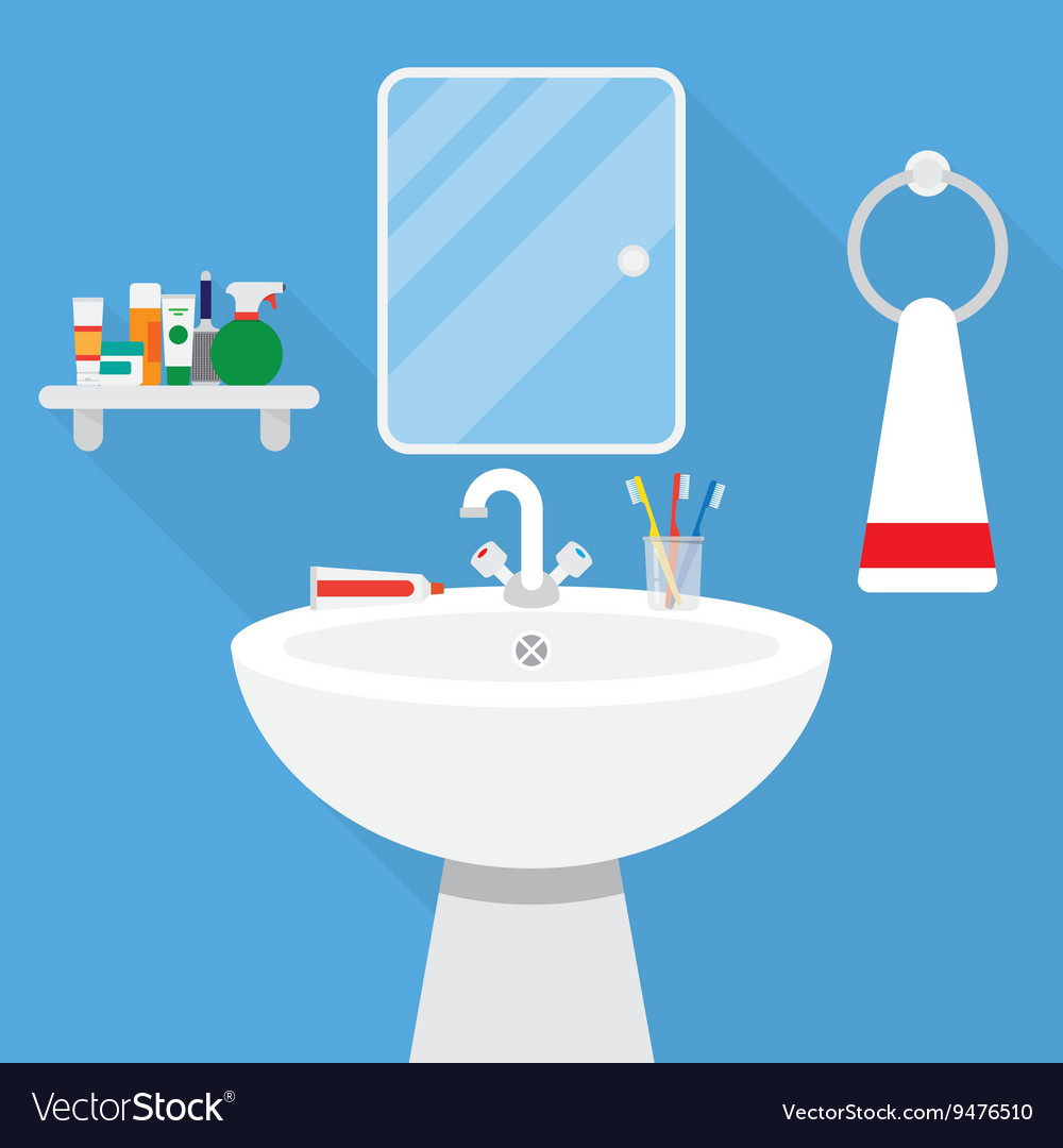 Bathroom with wash stand and mirror vector