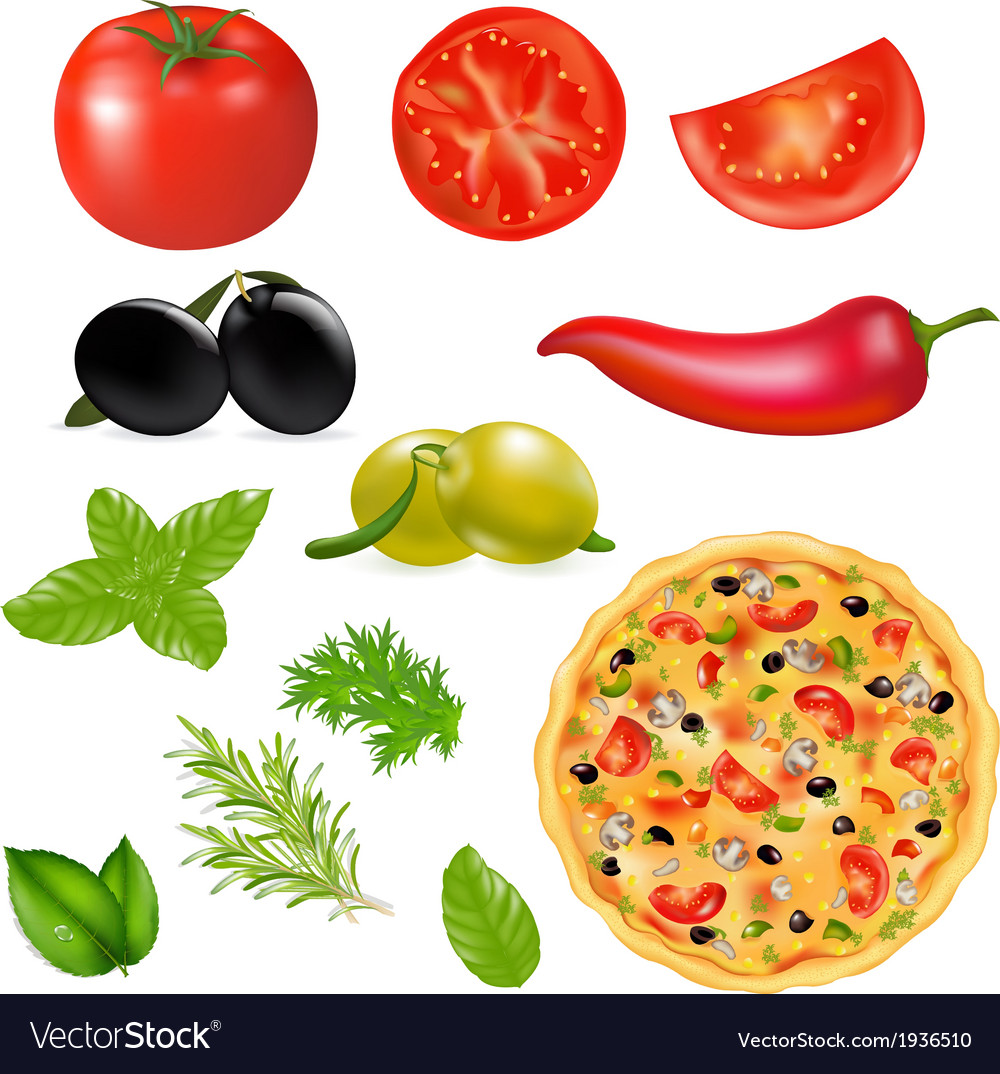 Set of products with pizza vector