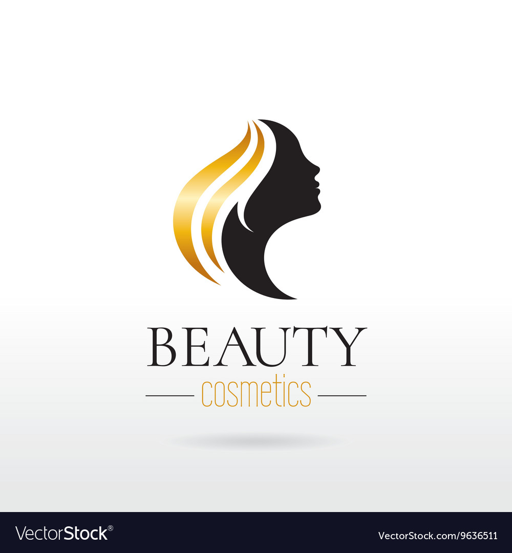 Elegant luxury logo with beautiful face of young vector