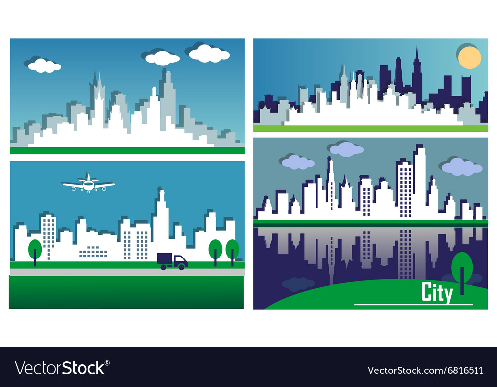 Silhouettes of the big cities vector