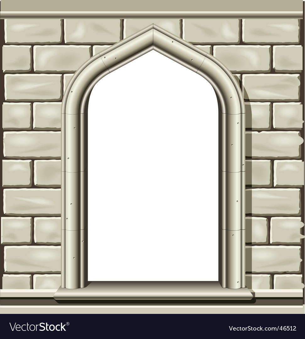 Arched window frame vector