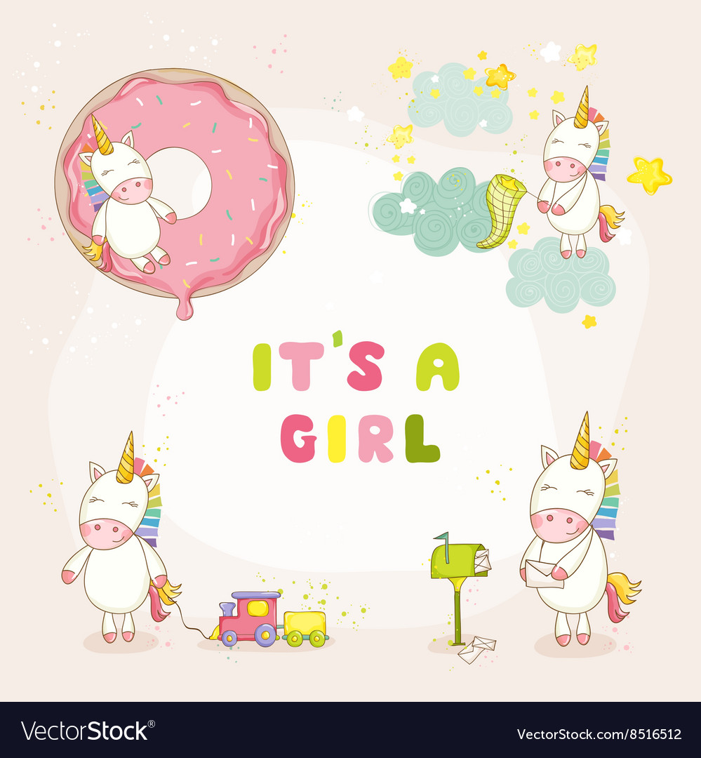 Baby unicorn set  baby shower or arrival card vector