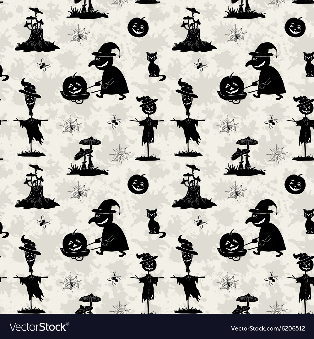 Seamless pattern halloween symbols vector