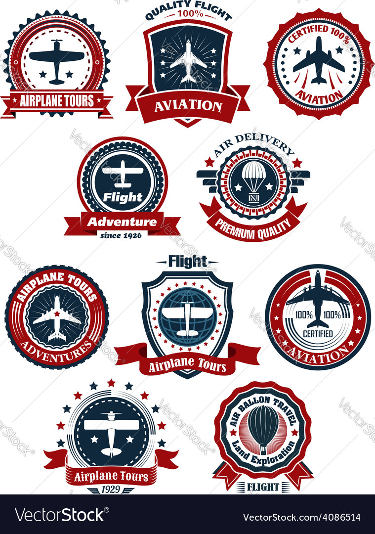 Aviation and air travel banners or emblems vector