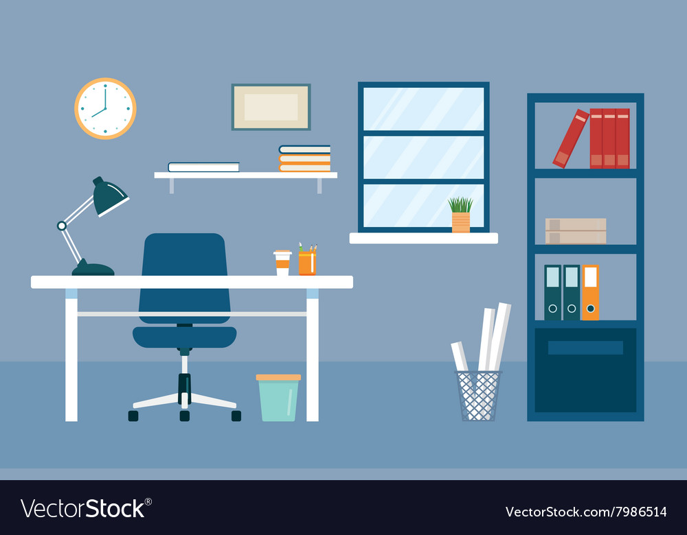 Office workplace and equipment flat design vector