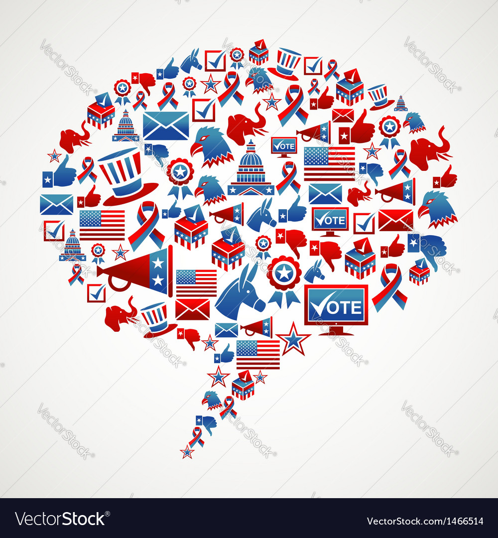Social media us election icons concept vector