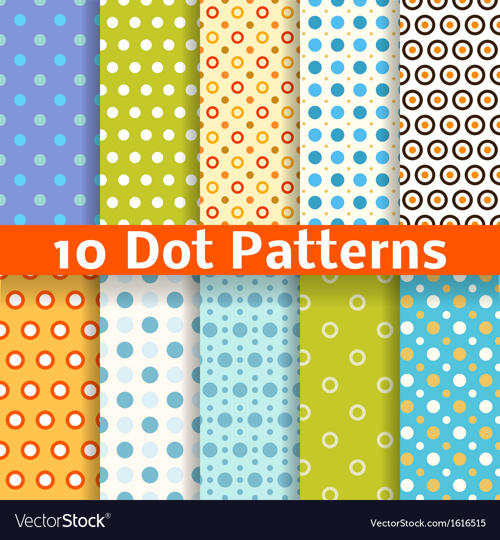 Different dot seamless patterns tiling vector