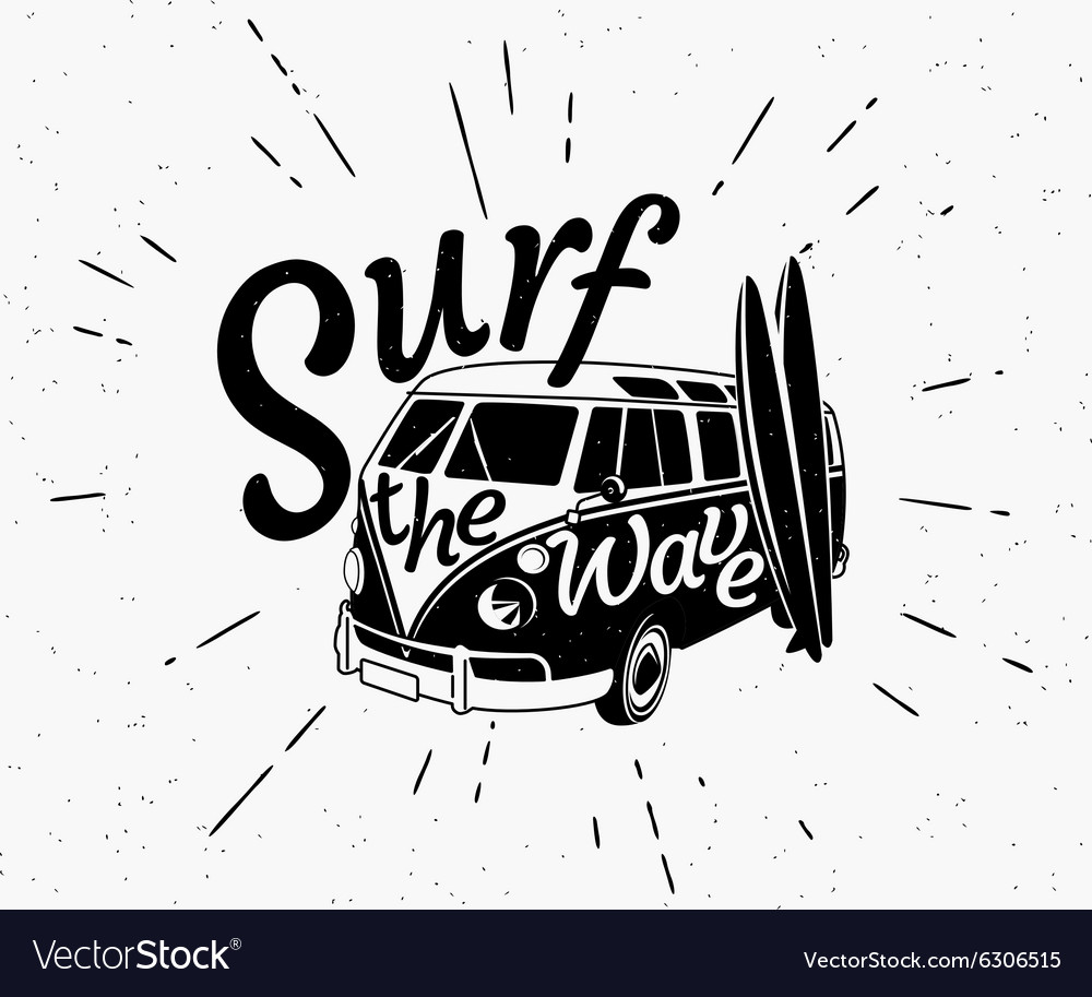 Van surf retro black and white vector