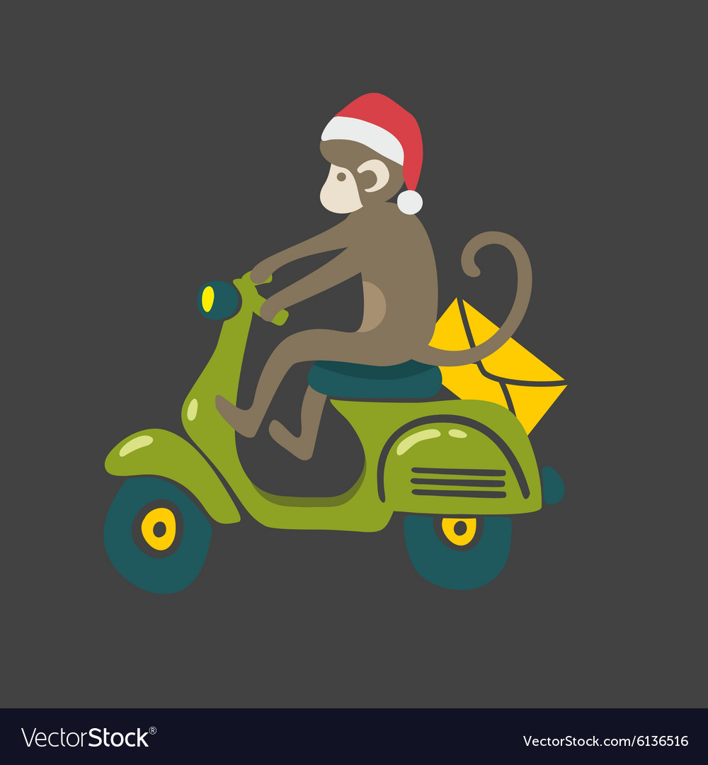 Monkey in red christmas hat on the vintage scooter vector
