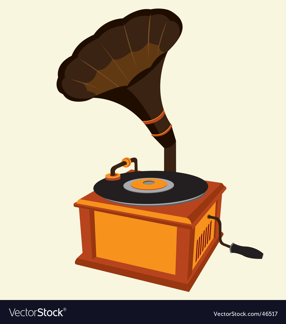 Antique record player vector